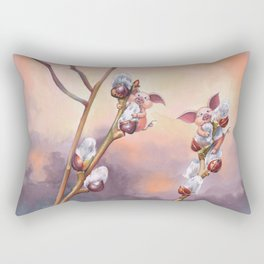 Tiny pigs hiding in pussy willow Rectangular Pillow