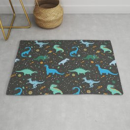 Dinosaurs in Space in Blue Rug