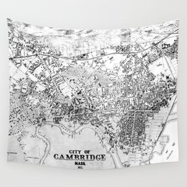 Vintage Map of Cambridge Massachusetts (1877) BW Wall Tapestry