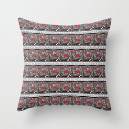 Mt Ruapehu/Pohutukawa Stamp Collage Throw Pillow