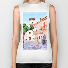 Borrello: man tree and bell tower Biker Tank