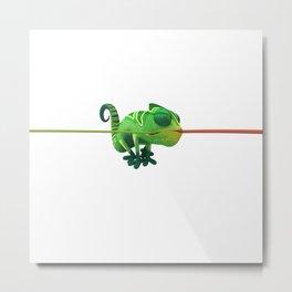 Run Cricket Run - Crazy Chameleon Metal Print