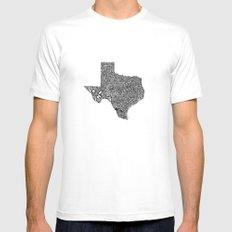 Typographic Texas 2X-LARGE White Mens Fitted Tee