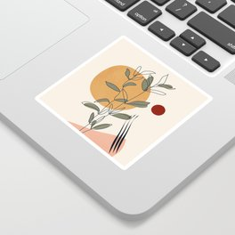 Minimal Line Young Leaves Sticker