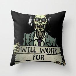 Funny Zombie Halloween Shirt Tshirt Gift Throw Pillow