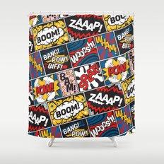 Modern Comic Book Superhero Pattern Color Colour Cartoon Lichtenstein Pop Art Shower Curtain