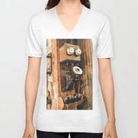 telephone V-neck T-shirts featuring Telephone by Imaginatio