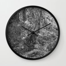 Rain forest view with creek Wall Clock
