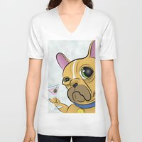 frenchie V-neck T-shirts featuring Frenchie by Kandus Johnson