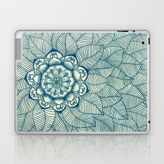 Emerald Green, Navy & Cream Floral & Leaf doodle Laptop & iPad Skin