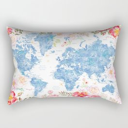 Blue and hot pink floral watercolor world map with cities Rectangular Pillow
