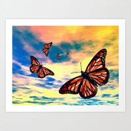 Flying Monarch Butterflies Art Print