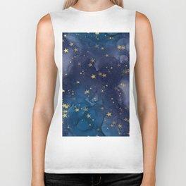 Gold stardust night sky Biker Tank