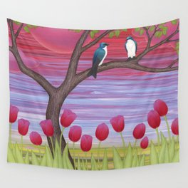 tree swallows & tulips at sunrise Wall Tapestry