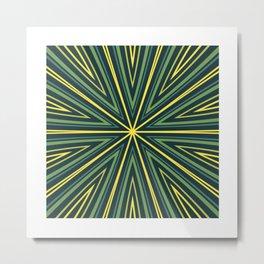 Barcode Sunburst Square (Yellow Green) Metal Print
