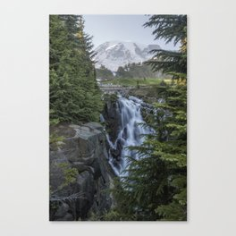 Mount Rainier and Myrtle Falls, Late Afternoon, vertical Canvas Print