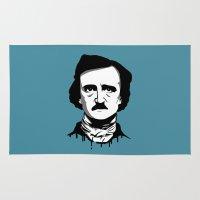 edgar allan poe Area & Throw Rugs featuring Edgar Allan Poe by Laura Meg