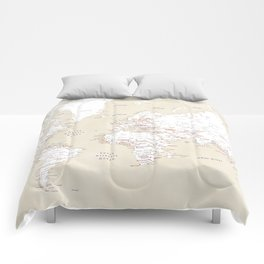 "Cream, white, red and navy blue world map, ""Deuce"" Comforters"