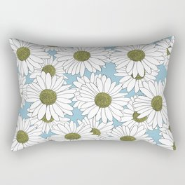 Daisy Blue Rectangular Pillow