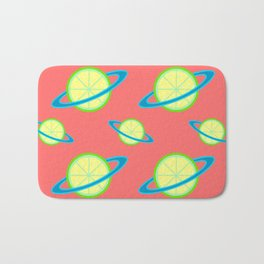 Planet Lime Pattern | Solar System | Space | Citrus Planets | Tropical Fruit | pulps of wood Bath Mat