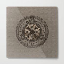 The Helm of Awe - Beige Leather and gold Metal Print