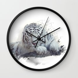 White tiger watercolor painting on white background Wall Clock
