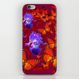 Lilac Iris  Monarch Butterflies Burgundy Color iPhone Skin