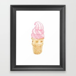Watercolour Illustrated Ice Cream - Strawberry Swirl Framed Art Print