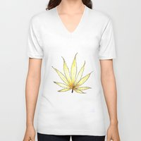 cannabis V-neck T-shirts featuring Golden Cannabis by  Can Encin