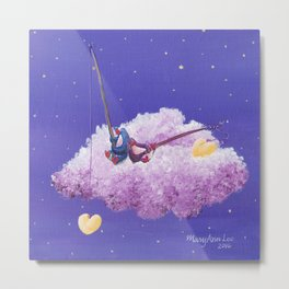 Penguin Lovers Fishing for Dreams on a Cloud Metal Print
