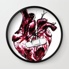 wounded heart with a band aid (color) Wall Clock