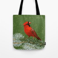 cardinal Tote Bags featuring Cardinal by Janko Illustration