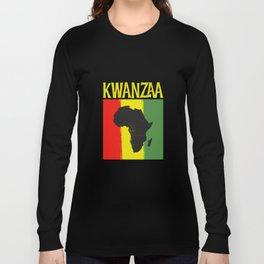 Kwanzaa Africa Map Black Ancestry Heritage Holiday Long Sleeve T-shirt