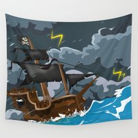 pirate ship Wall Tapestries featuring Pirate Ship in Stormy Ocean by Nick's Emporium Gallery