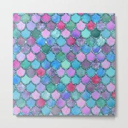 Colorful Teal Glitter Mermaid Scales Metal Print