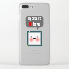 Cute blushing CPU My cores are hot for you Clear iPhone Case