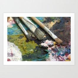 Artists brushes on palette Art Print