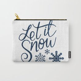 Let It Snow Blue Glitter Typography Winter Carry-All Pouch