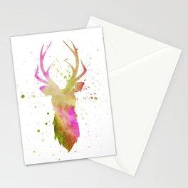 Watercolor deer head with antlers, Purple - Green - Orange Stationery Cards