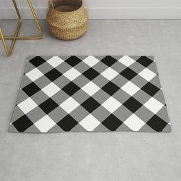 Gingham Plaid Black & White Rug