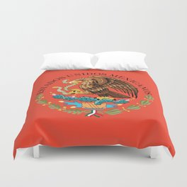 Mexican Flag seal on orange red background Duvet Cover