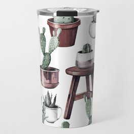 Happy Potted Cacti in Rose Gold Pots Travel Mug