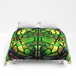Green and Gold Stained Glass Victorian Design Comforters