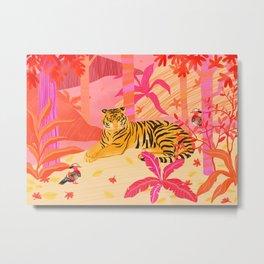 Tiger and Mandarin Ducks Metal Print