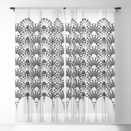 black and white art deco inspired fan pattern Sheer Curtain