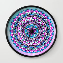 Mandala #2 Wall Tapestry Throw Pillow Duvet Cover Bright Vivid Blue Turquoise Pink Contempora Modern Wall Clock