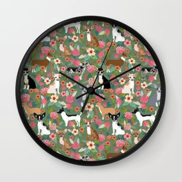 Chihuahua mixed coats dog breed floral pet art must have chiwawa lover gifts Wall Clock