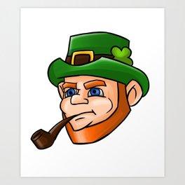 Leprechaun Face Smoking Pipe Art Print
