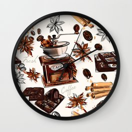 Coffee watercolor pattern with grains coffee mill and chocolate Wall Clock