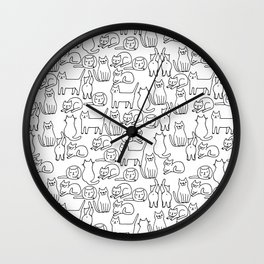 Funny sketchy white kitty cats Wall Clock